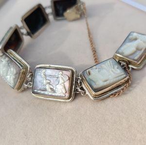 Antique sterling cameo scene bracelet